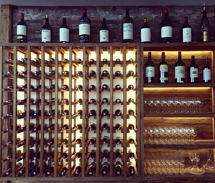 Gourmet chalet food - Montfort wine wall